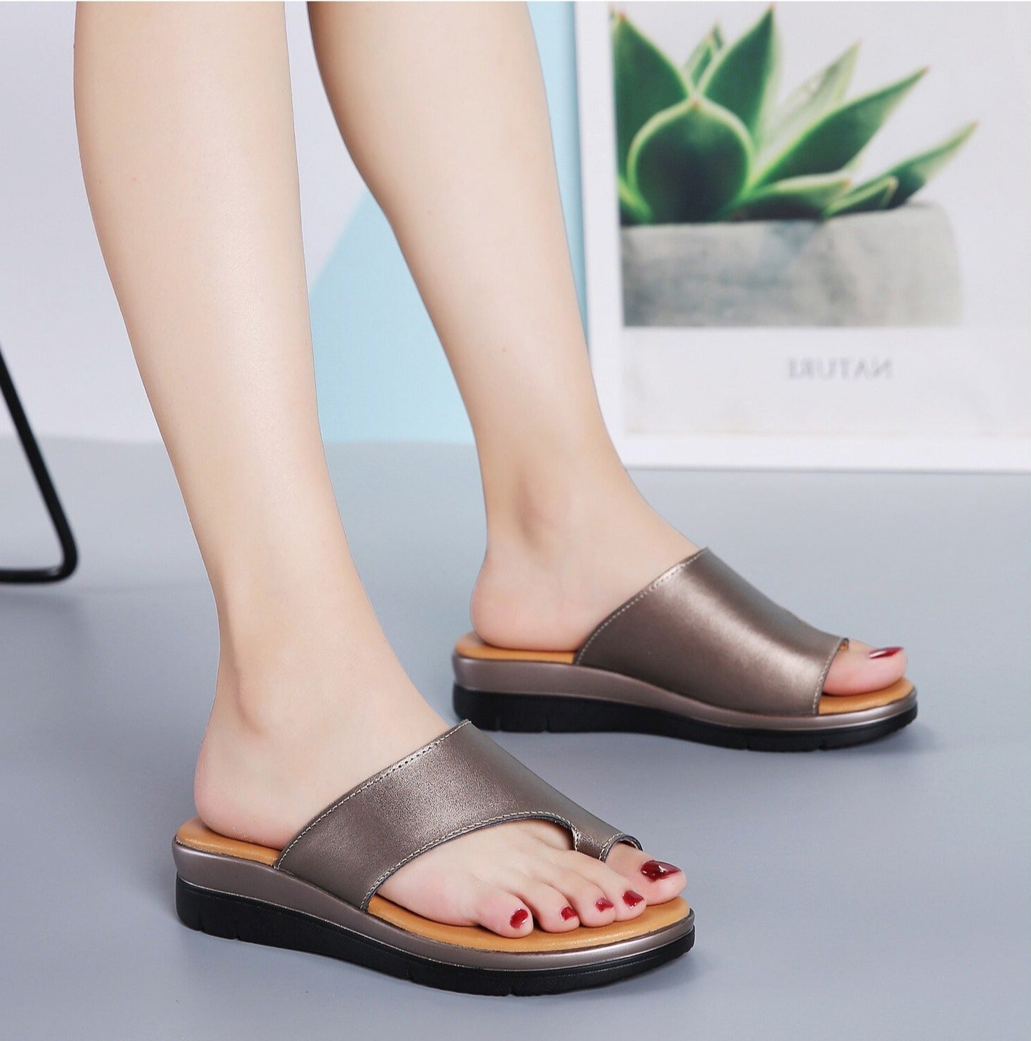 Genuine Leather Wedge Slippers