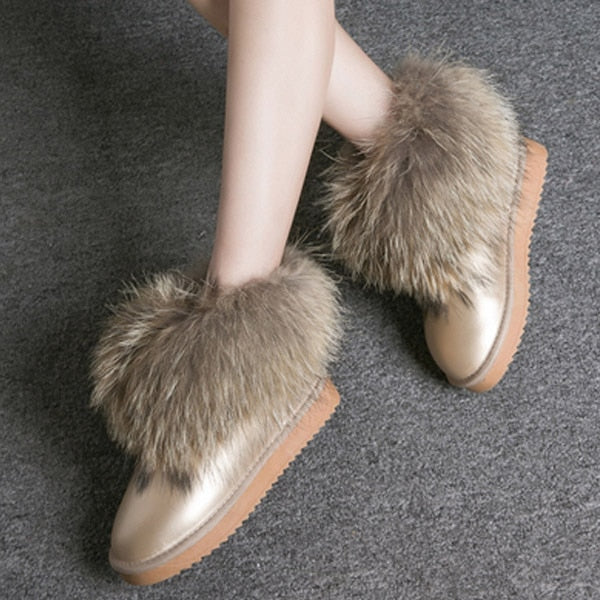 Genuine Leather Real Fox Fur Boots