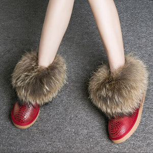 Open image in slideshow, Genuine Leather Real Fox Fur Boots