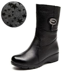 Open image in slideshow, Genuine Leather Mid Calf Winter Boots