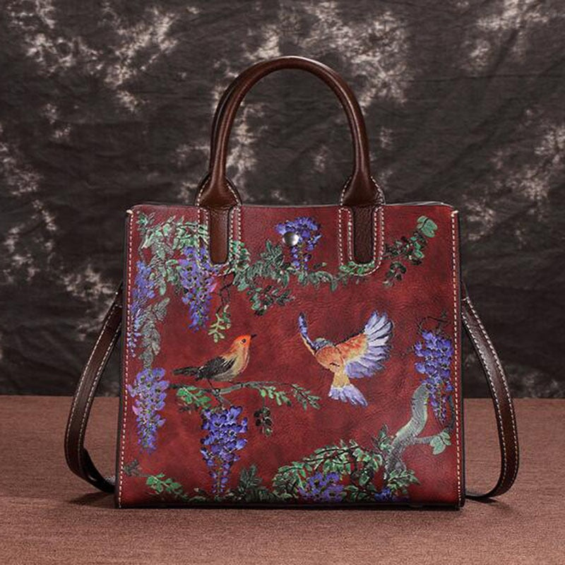 Genuine Leather Floral Tote Bag