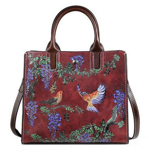 Open image in slideshow, Genuine Leather Floral Tote Bag