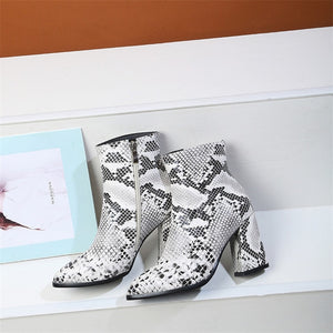 Open image in slideshow, Snake Print Ankle Boots