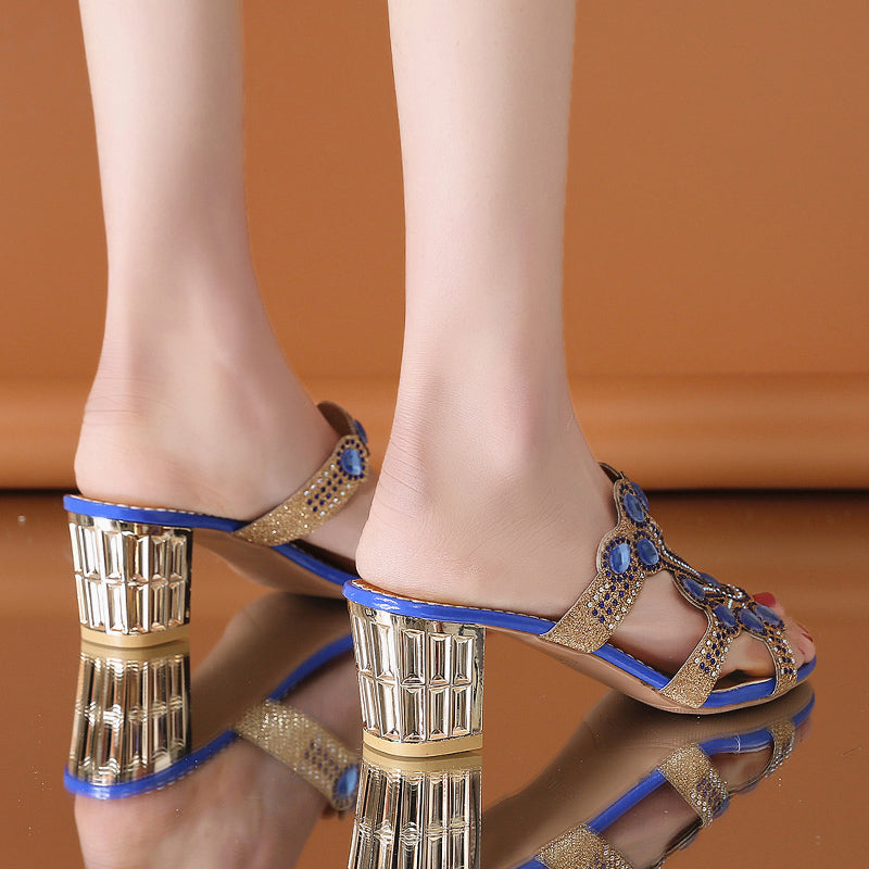 Open Toe Crystal Sandals