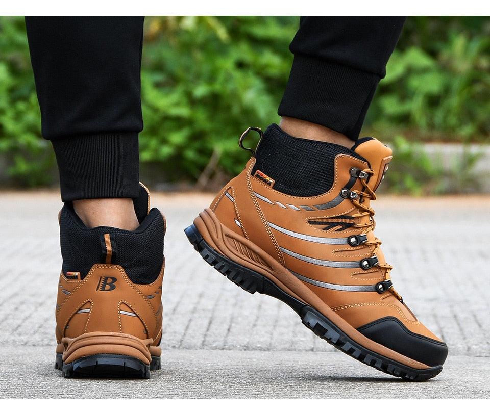 Leather Plush Trekking Sneakers