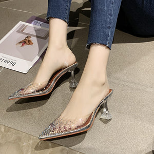 Transparent Crystal Slingback Pumps