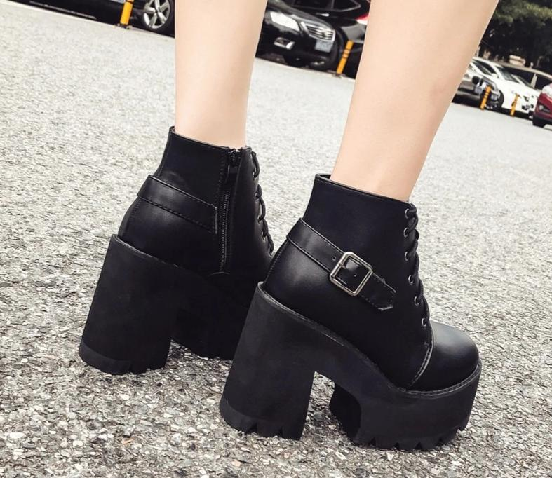 Lace Up Platform Ankle Booties