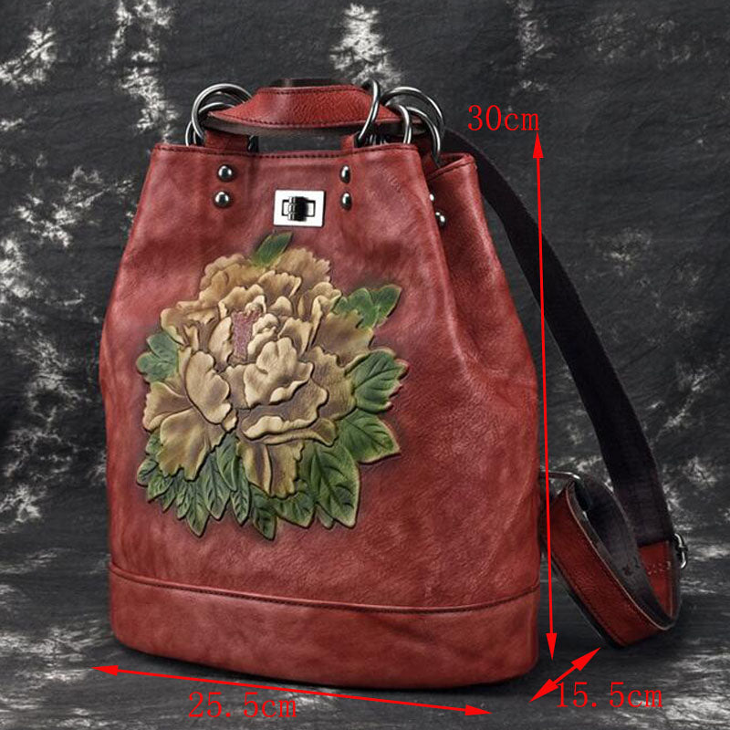 Genuine Leather Embossed Flower Backpack