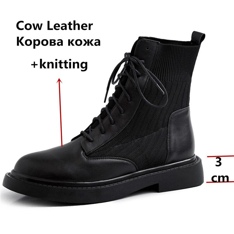 Genuine Leather Knitted Ankle Boots