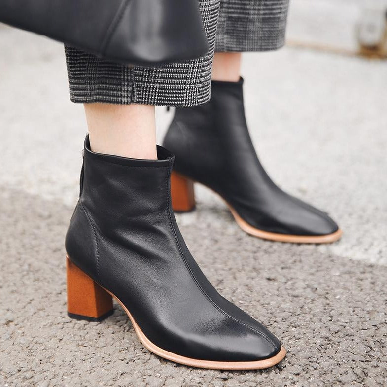 Genuine Leather Square Toe Booties