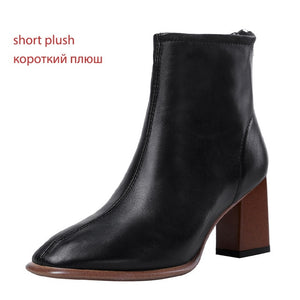 Open image in slideshow, Genuine Leather Square Toe Booties