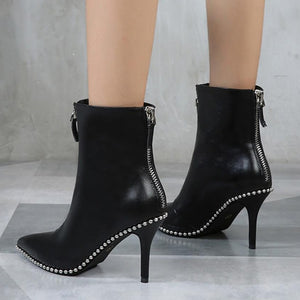 8cm High Heels Ankle Boots