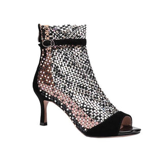 Open image in slideshow, Suede Crystal Mesh Boot Sandals