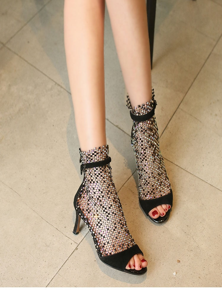 Suede Crystal Mesh Boot Sandals