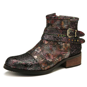 Open image in slideshow, Genuine Leather Snake Print Boots