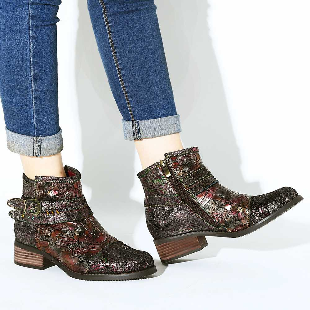 Genuine Leather Snake Print Boots