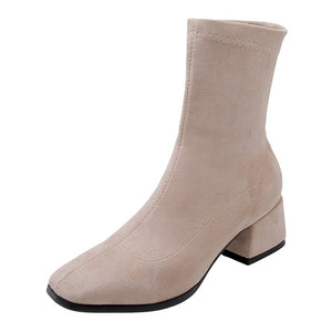Open image in slideshow, Square Toe Thick Heel Booties