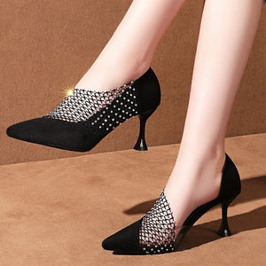 Open image in slideshow, Crystal Suede Pumps