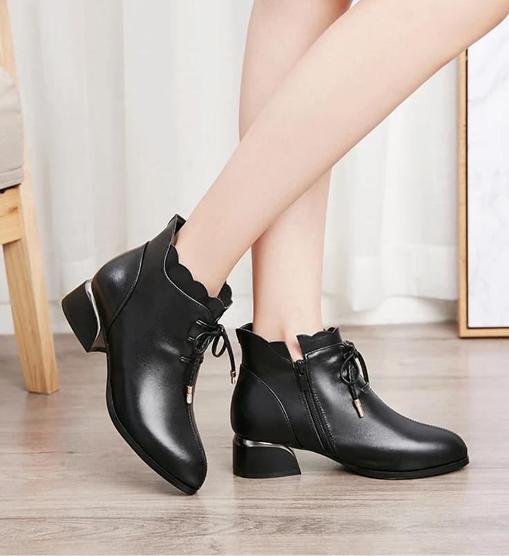 Genuine Leather Pointed Toe Boots
