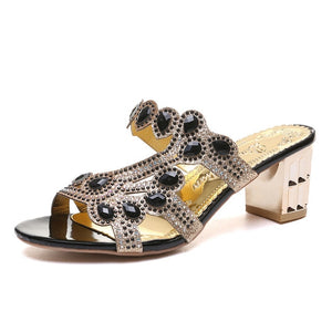 Open image in slideshow, Open Toe Crystal Sandals