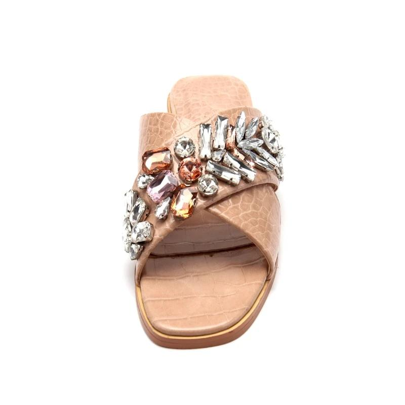 Leather & Crystal Leaf Sandals