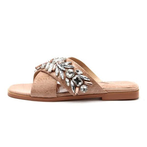 Open image in slideshow, Leather & Crystal Leaf Sandals