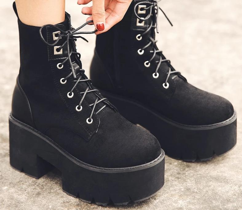 Square Heel Suede Leather Boots