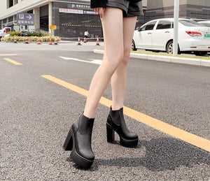 Shoes Square Heel Platform Boots