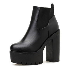 Open image in slideshow, Shoes Square Heel Platform Boots