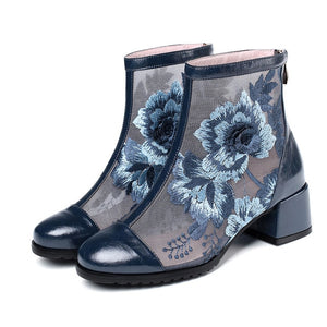 Open image in slideshow, Leather Flower Ankle Boots