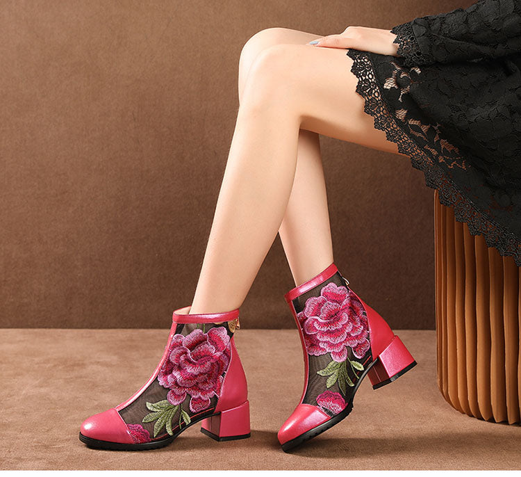 Leather Flower Ankle Boots