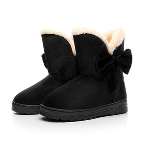 Open image in slideshow, Warm Suede Bow Snow Boots