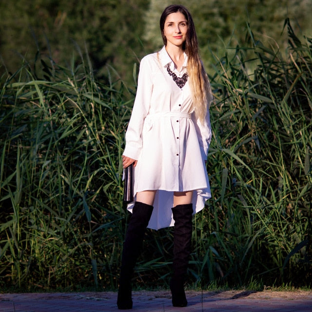 Flock Leather Over The Knee Boots