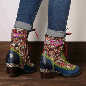 Genuine Leather Paisley Boots