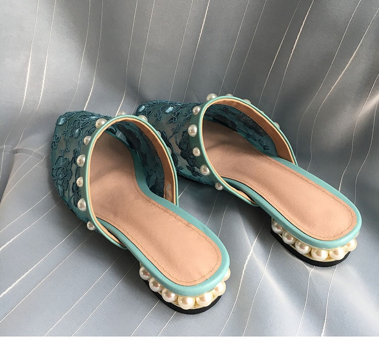 Blue Lace & Pearl Slippers