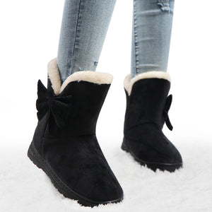 Warm Suede Bow Snow Boots