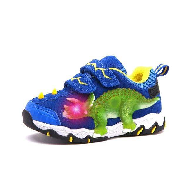 3D LED Genuine Leather Dinosaur Sneakers