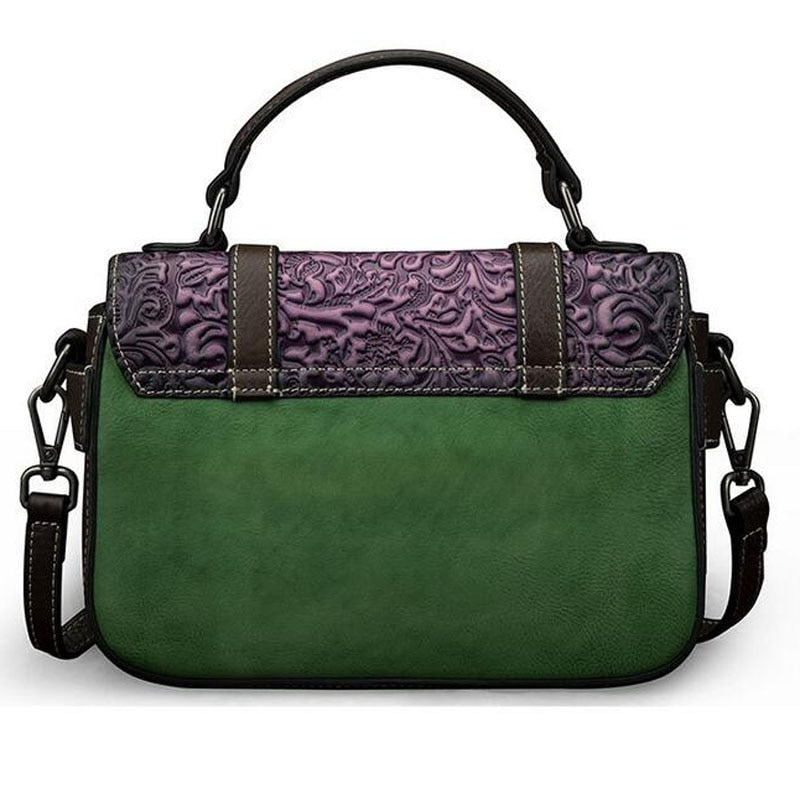 Embossed Genuine Leather Shoulder Bag