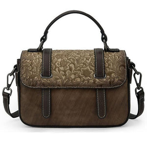 Open image in slideshow, Embossed Genuine Leather Shoulder Bag
