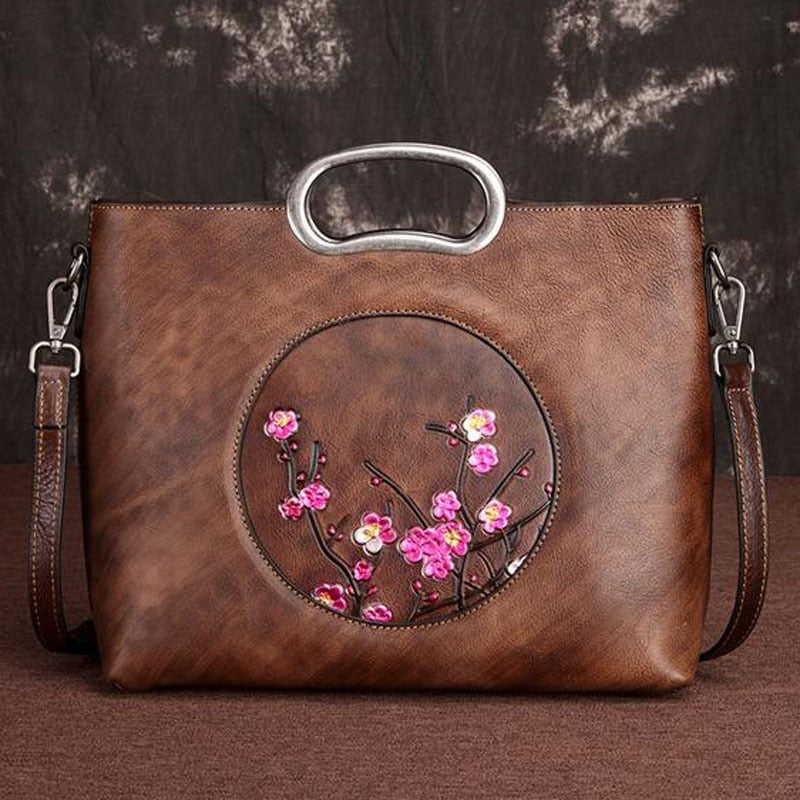 Genuine Leather Floral Tote