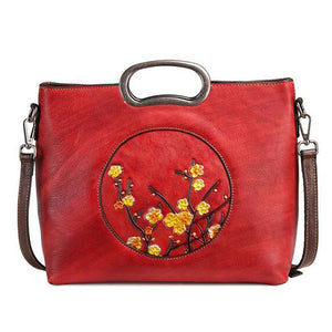Open image in slideshow, Genuine Leather Floral Tote