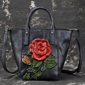Open image in slideshow, Embossed Genuine Leather Tote Bag