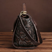 Genuine Embossed Leather Vintage Shoulder Bag