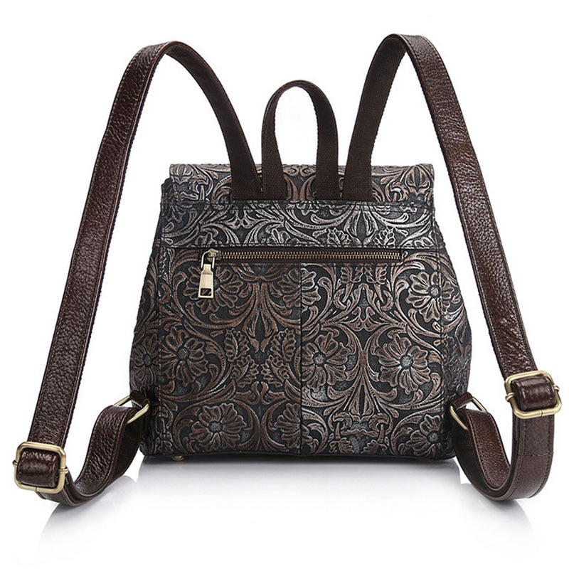 Embossed Genuine Leather Backpack
