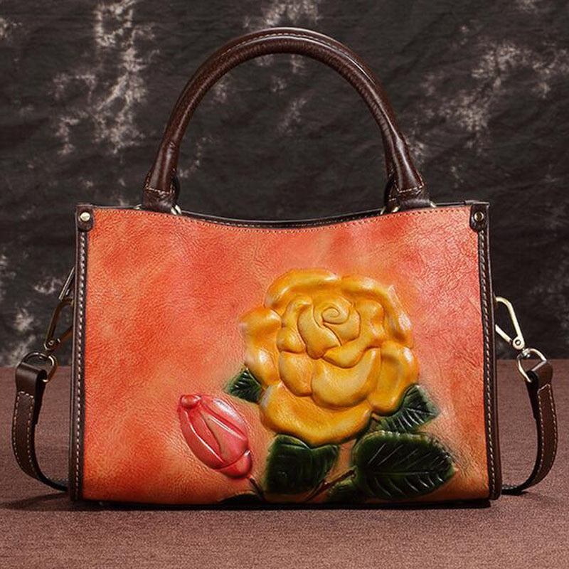 Genuine Leather Rose Bag