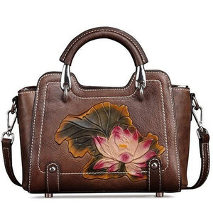 Open image in slideshow, Genuine Leather Flower Messenger Bag