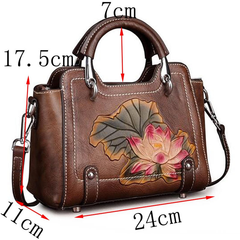 Genuine Leather Flower Messenger Bag