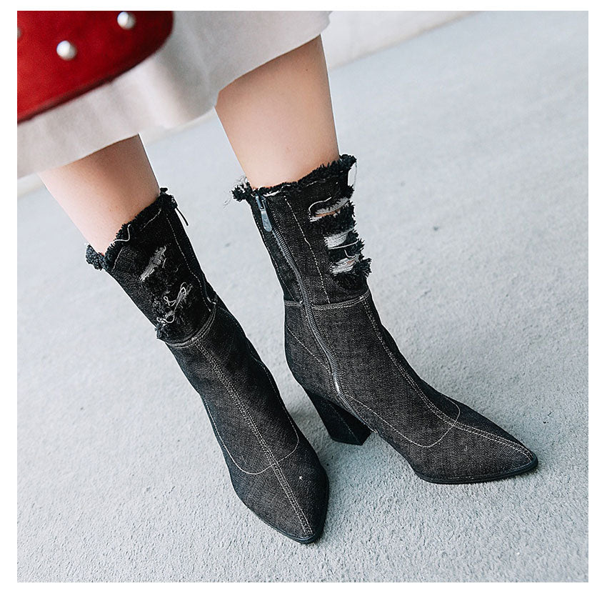 Denim Ankle Booties