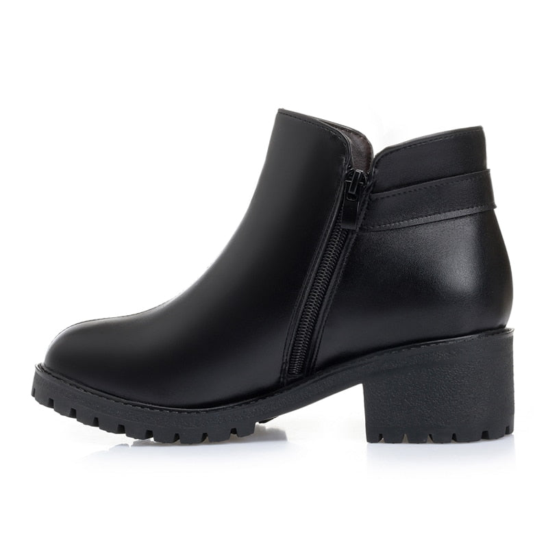 Genuine Leather & Wool Ankle Boots