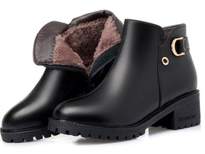 Open image in slideshow, Genuine Leather & Wool Ankle Boots